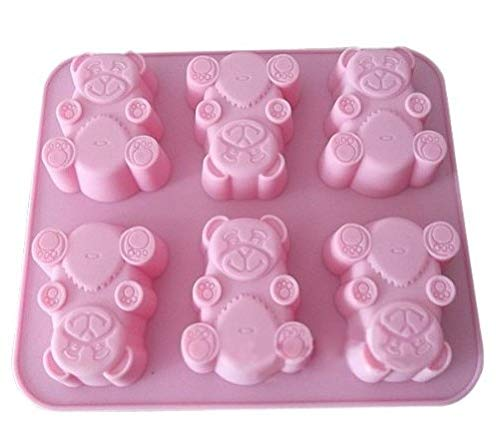 Cake Molds - Bear Shape Silicone Baking Cake Mold Bakeware 6 Holes - Removable Metal Cowboy Small Train Ball Sphere Letters Dome Stainless Oven Truck Elephant Rectangle Cake Cream Giant Adjusta ()
