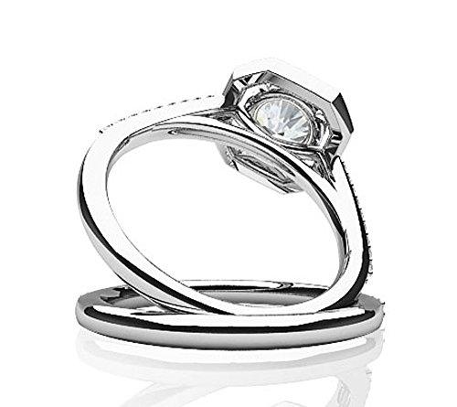 Or blanc 14K Octagon Attaches Lot de diamant de mariage Ensemble