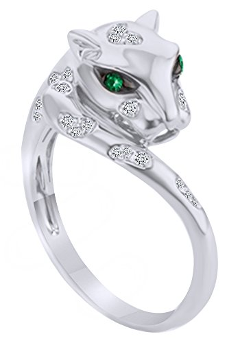 (AFFY Round Cut Simulated Emerald Natural Diamond Panther Ring in 14K Solid White Gold (0.12 Ct))
