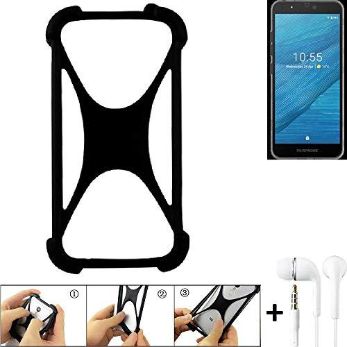 K-S-Trade Handyhülle + Headphones Kompatibel Mit Fairphone Fairphone 3 Schutzhülle Bumper Silikon Schutz Hülle Cover…