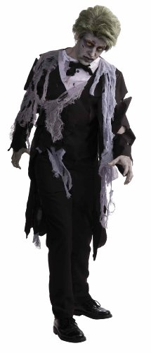Zombie Costume Men (Men's Zombie Formal Costume, Black/Gray, One Size)