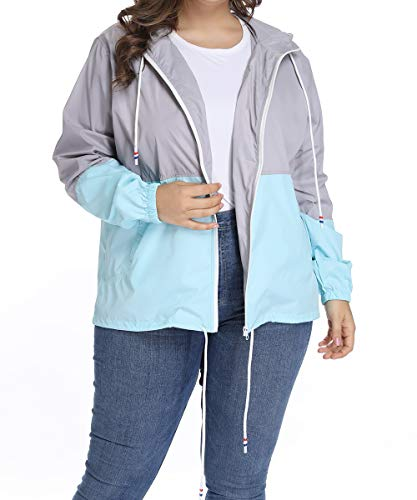 (Women's Waterproof Raincoat Outdoor Hooded Rain Jacket Windbreaker Blue XXL)