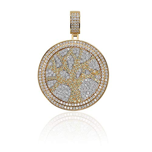 JINAO Micropave CZ Iced Out Spinner Round 69 Pendant Necklace Hip Hop Jewelry (Gold - Tree of Life) ()