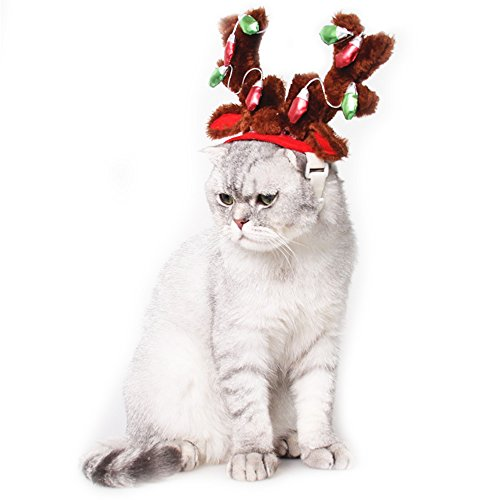 Dog Elk Reindeer Antler Hat Cap Bling Dog Cat Pet Christmas Costume Outfits Small Dog Headwear Hair Grooming Accessories (S, Red)