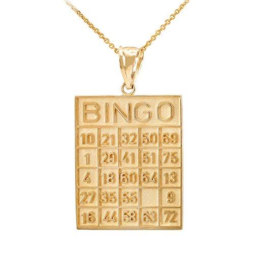 Collier Femme Pendentif 10 Ct Or Jaune Bingo Card Carré Tile (Livré avec une 45cm Chaîne)