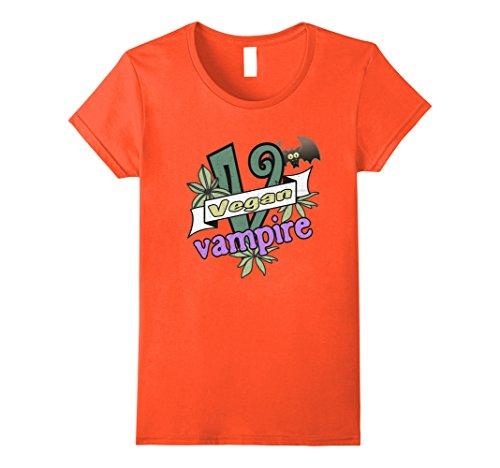 Womens Vegan Vampire Tshirt, Halloween Funny Costume, Vegetarian XL Orange - Vegan Zombie Costume