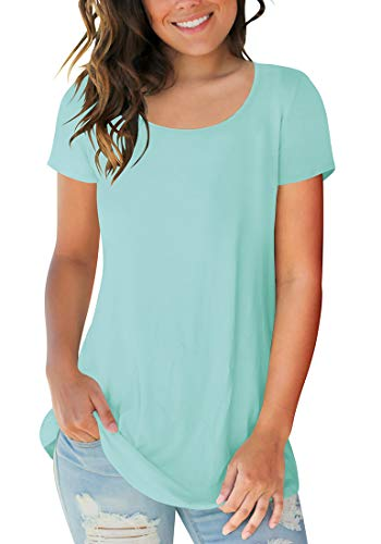 Sousuoty Women's Cotton Short Sleeve Scoop Neck Tshirts Summer Tops Lake Green S