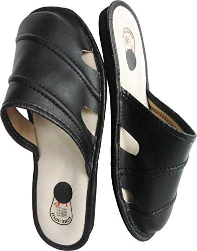Hausschuhe - Latschen - Pantoffeln Gr.42, 43, 44, 45, 46 Echt LEDER, SCHWARZ(Made in Poland 1-1-2-55)