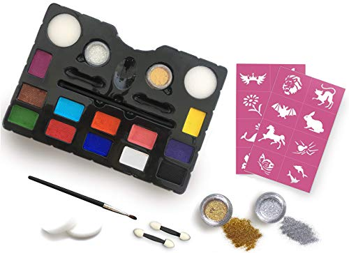 Face Painting Kit -+16 Stencils - 12 Vibrant Colors - Silver and Gold Glitters - Easy to Use Face Painting Kit for Kids - Safe and Non-Toxic - Water Based - Body Makeup ()