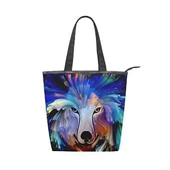 Mydaily Tote Canvas Shoulder Bag Dog Colorful Painting Womens Handbag