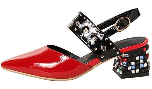 Calaier Womens Catxaj Pekte Tå 4,5 Cm Stiletto Spenne Sandaler Sko Rød