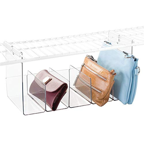 mDesign Plastic 5 Compartment Hanging Closet Storage Organizer Tray - Divided Sections for Holding Sunglasses, Wallets, Clutch Purses, Accessories - Hangs Below Shelving - Clear