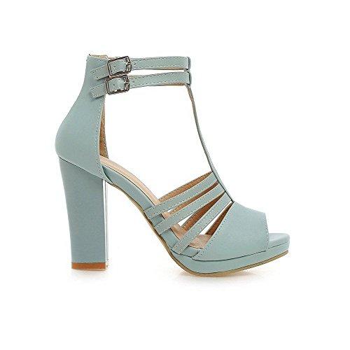 Sandals Peep Material Women's High Heels AllhqFashion Blue Buckle Soft Solid Toe nzSOwxRWx