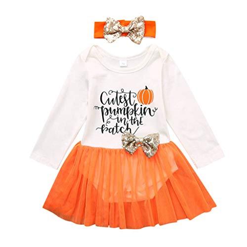 Little Girl Tutu Scarecrow Costumes - Toddler Baby Girls Pumpkin Onesies Romper Tutu Dress Headband Organic Bodysuit Halloween