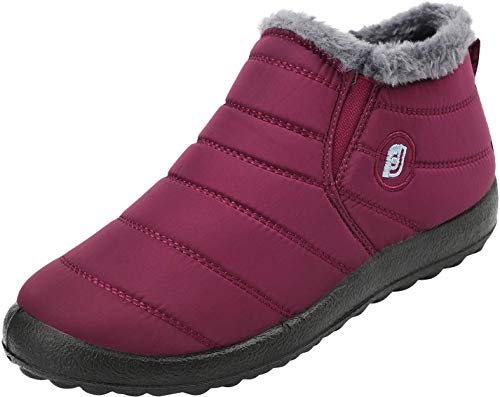 JOINFREE Women's Winter Snow Flat Ankle Boots Men's Mid-Calf Zip Waterproof Outdoor Walking Warm Bootie Wine Red