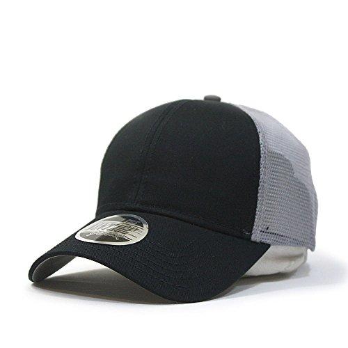 (Vintage Year Plain Cotton Twill Mesh Adjustable Snapback Trucker Baseball Cap (Black/Gray))