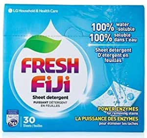 Fresh FiJi (Lucky FiJi) LG Laundry Detergent Sheets Power Sheet, More Efficient Than Liquid, Pods, or Pacs - Travel & Eco Friendly - 30 Loads