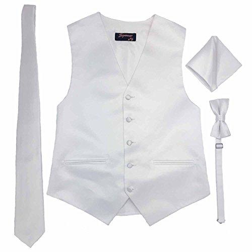 Tuxedo Vest White Satin - Spencer J's Men's Formal Tuxedo Suit Vest Tie Bowtie and Pocket Square 4 Piece Set Variety of Colors (2XL (Coat Size 52-55), White)