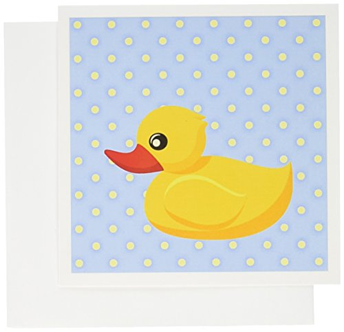 3dRose Rubber Ducky - Light Blue Polka Dots - Art for Children - Greeting Cards, 6 x 6 inches, set of 6 (gc_53550_1)