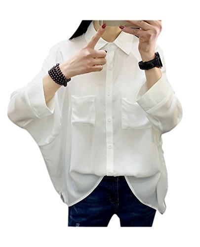 ARJOSA Women's Oversized Batwing Sleeve Button-Down T-Shirt Blouse Loose Top (White ()