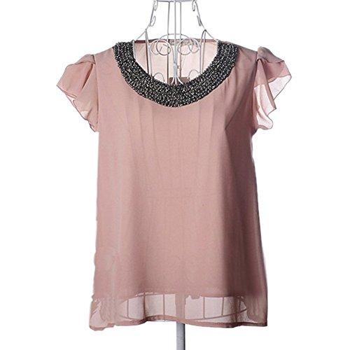 Krralinlin Collar Ruffle Bead Shoulder Embellished Women's T-Shirts Tops Blouse