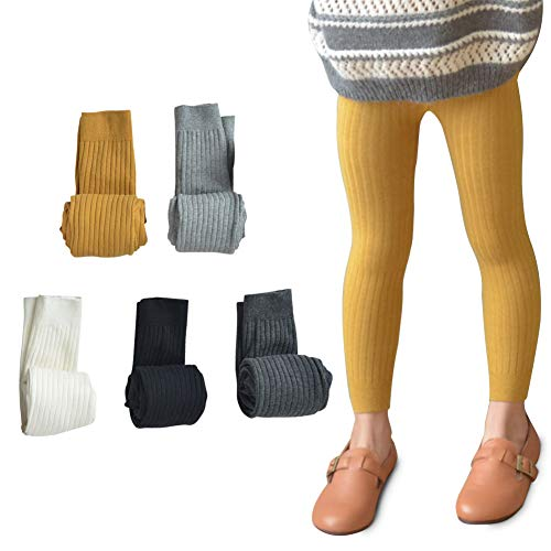 5 Pack Girls Cotton Cable Knit Classic Solid Ankle Leggings Pants Footless Tights 3-5T