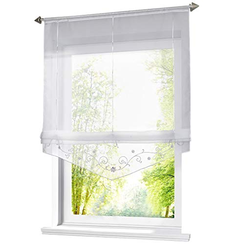 (BAILEY JO Roman Shades Rod Pocket Sheer Flower Embroidary Tab Top Tie Up Window Curtain Voile Valance Drape Drapery for Living Room Bedroom Decorative 1 Panel 55 Inch Height)