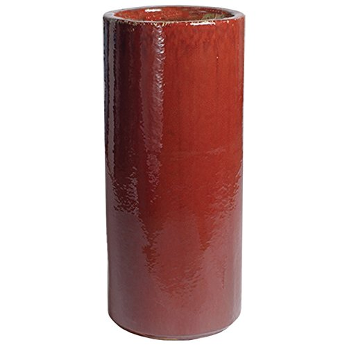 Tall Round Ceramic Planter - Red by Emissary