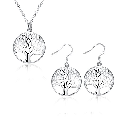 lver Plated Tree of Life Earrings and Necklace Jewelry Set 18'' with PU Jewelry Pouch (Life Pendant Set)