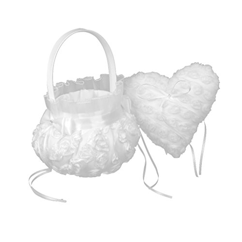 MagiDeal Romantic White Satin Lace Heart Ring Pillow and Flower Basket Set Wedding Ceremony ()