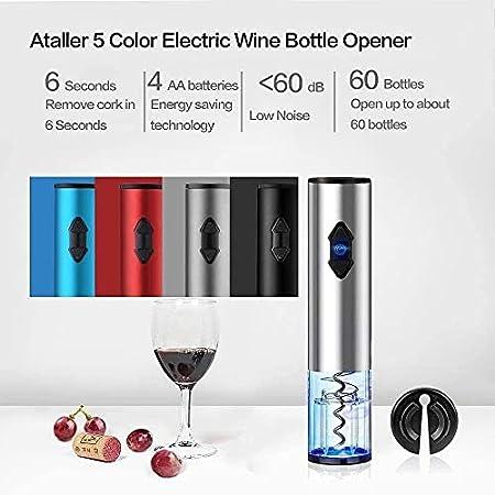 Abridor de botellas de vino eléctrico a pilas, sacacorchos automático de aluminio, con cortador de papel de aluminio para amantes del vino