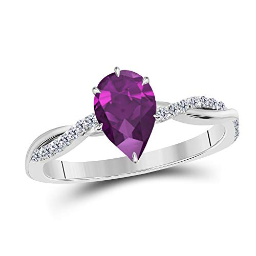 1.20 Ct Pear Shape Created Purple Amethyst and Cubic Zirconia 14K White Gold Finish Sterling Silver Swirl Style Engagement Ring Women's ()