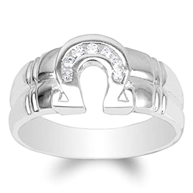 JamesJenny Mens 925 Sterling Silver Round CZ Embedded Horseshoe