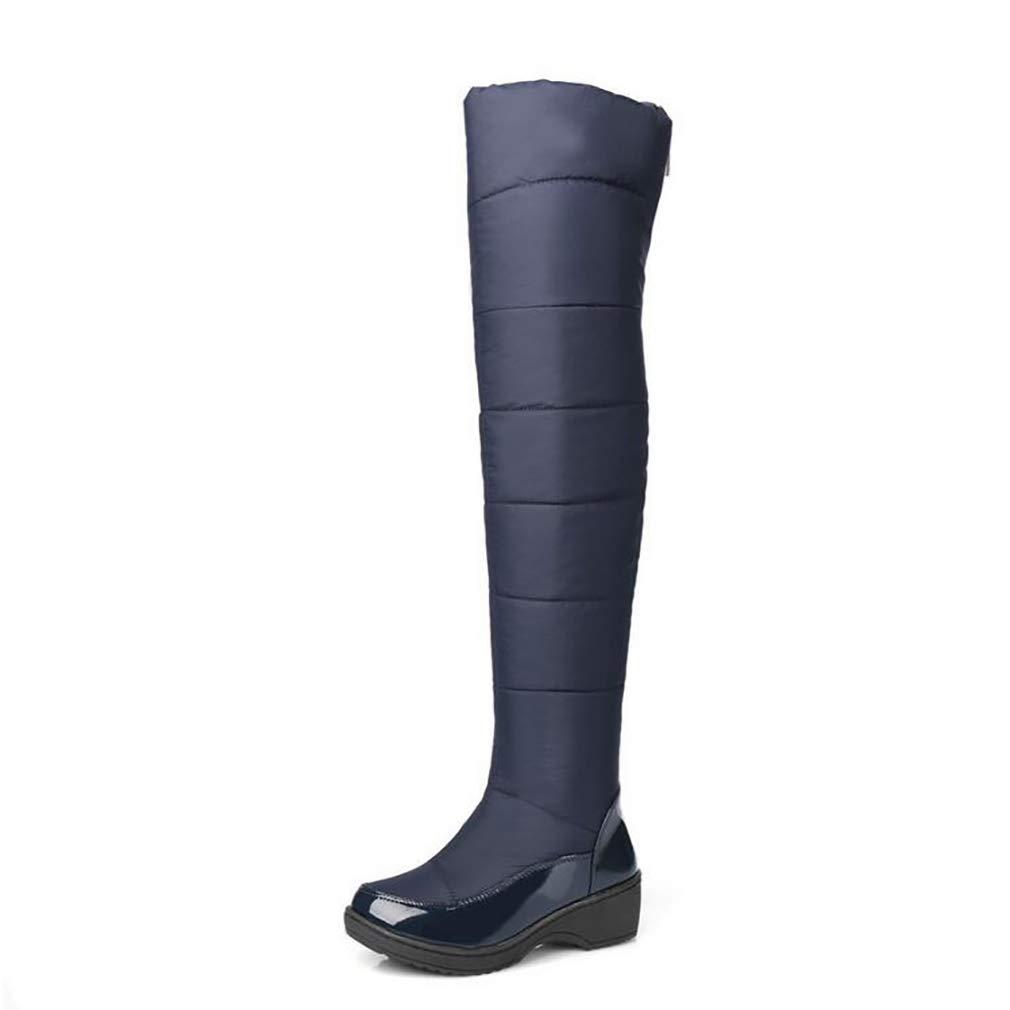 Hy Damenschuhe LARtifical PU Winter Comfort Snow Stiefel Stiefel Overknee Stiefel Damen Casual Flat Plus Kaschmir Warm High Stiefel Blau Schwarz (Farbe   Blau Größe   35)