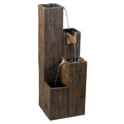 Bates Indoor/Outdoor Floor Fountain (Pieces Included Fountain, Pump, and Stones) Made w/ Resin and Copper in Brown Color 34'' H x 12'' W x 12'' - Stone Copper Fountain