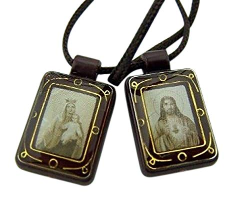 Religious Gifts Dark Brown Antique Style Sacred Heart Jesus Christ Our Lady Mt Carmel - Jesus Antique