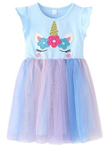 Fiream Little Girls Casual Sleeveless Unicorn Tutu Dresses(JP024,7-8Y)