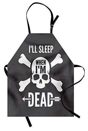 Lunarable Saying Apron, Ill Sleep When Im Dead Crossbones Skulls Skeleton Horror Silhouette, Unisex Kitchen Bib Apron with Adjustable Neck for Cooking Baking Gardening, Charcoal Grey White