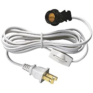 Westinghouse 70108 6-Ft Cord Set with Snap-In Pigtail Candelabra-Base Socket and Cord Switch, White