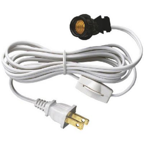 6' Cord Set (Westinghouse 70108 6-Foot Cord Set with Snap-In Pigtail Candelabra-Base Socket and Cord Switch, White)