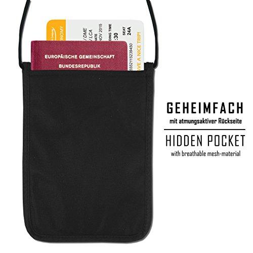 Wasserfest Brustbeutel Brusttasche+RFID-Blocker Travel Neck Pouch Wallet