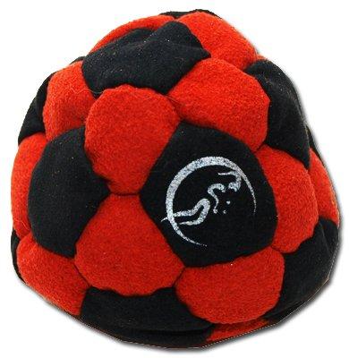 Pro Hacky Sack 32 Paneelen (Schwarz/Rot) Profi Freestyle Footbag! Hacky Sack für Anfänger und Profis, ideal für Stände, Fänge, Verzögerungen u. Tritte!