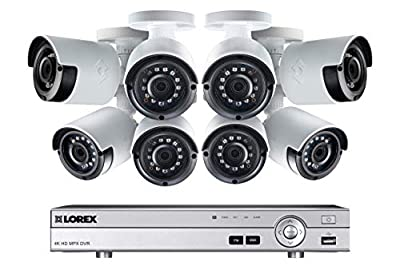 Lorex Weatherproof Indoor/Outdoor Home Surveillance Security System, 1080p HD Bullet Cameras with Long Range Night Vision (8 Pack) - Includes 8 Channel 4K DVR w/ 2 TB Storage Hard Drive