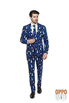 Opposuits Mens Ugly Christmas Suit and Tie Blue - Ugly Xmas Sweater Outfit