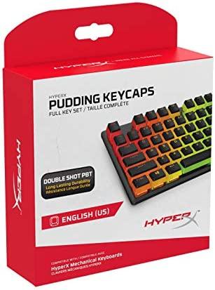 HyperX Pudding Keycaps - Vollständiger Tastensatz - PBT - {Schwarz} - English (US) Layout - 104 Key, Hintergrundbeleuchtet, OEM Profil