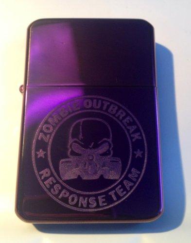 Vector KGM Thunderbird Custom Lighter - NEW Dead MAN Skull GAS Mask Seal Zort Z.o.r.t. Zombie Outbreak Response Team Logo Purple Sparkle ICE High Polish Chrome Rare! (Vector Gas Mask)
