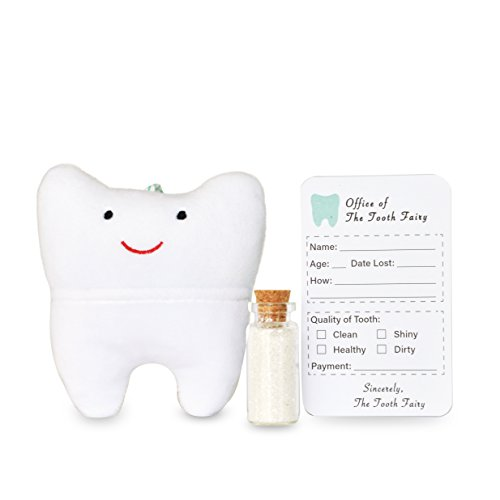 Cairn Co. Tooth Fairy Pillow Kit with Keepsake Notepad and Magic Glitter - for Boys and Girls - Hanging Option - Fun for Kids - 3 Piece - Fun Keepsake