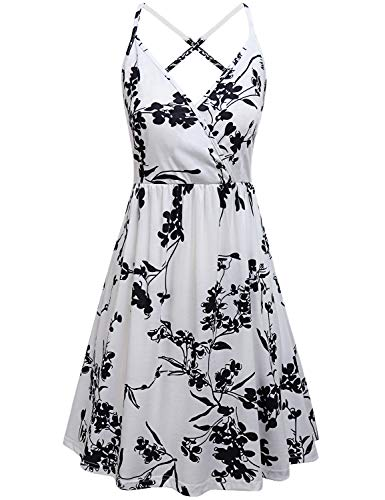 Sexy Sundresses for Women,Lady Fashion 2019 Dresses Adjustable Spaghetti Strap Beach Dress Swing Pleated A Line Sleeveless Clubwear Dress Misses Open Back Plus Size Clothes Prime White Floral XXL