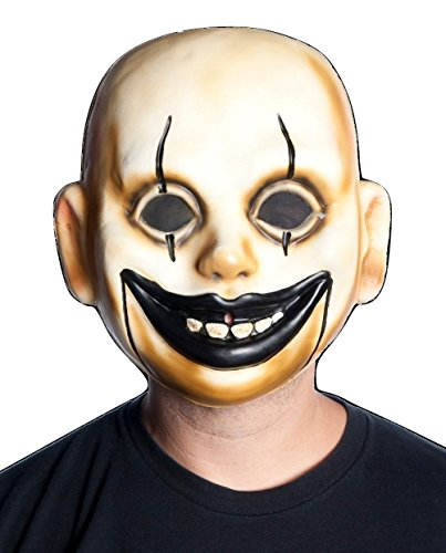 [Clown Doll Face Mask Plastic Creepy Smile Scary Halloween Costume Accessory] (Halloween Costumes Scary Doll)