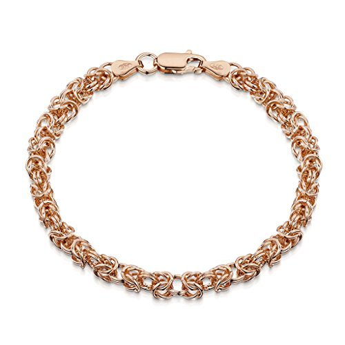 Amberta 14K Rose Gold Plated on 925 Sterling Silver 4.7 mm Byzantine Chain Bracelet Length 7.5